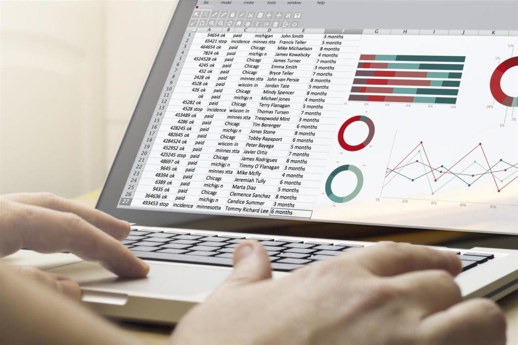 spreadsheet on computer